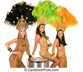 Carnival dancers - Portrait of young women in carnival...