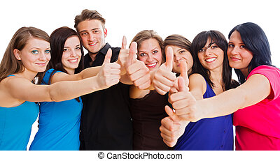 Young People Like - Team members showing thumbs up for their...