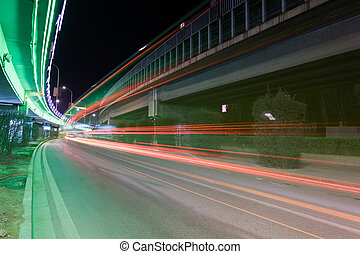 light traces on traffic junctions at night
