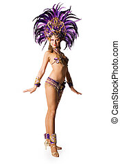 Carnival dancer - Portrait of young woman in violet carnival...