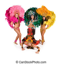 Carnival dancers - Portrait of young people in carnival...
