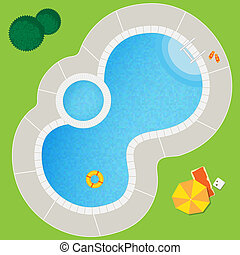 Swimming pool on a green meadow with umbrella and chaise...