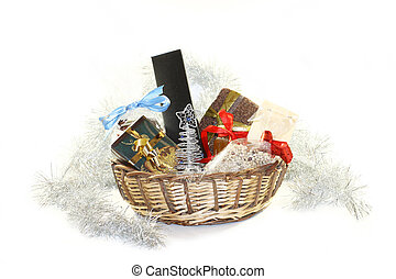 Christmas basket with gifts