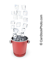 Ice bucket with flying ice cubes