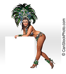 Carnival dancer - Portrait of young woman in green carnival...