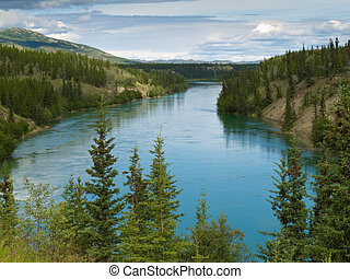 Yukon River north of Whitehorse Yukon T Canada - Yukon River...