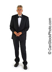 Senior man in tuxedo - senior man dressed in black tie