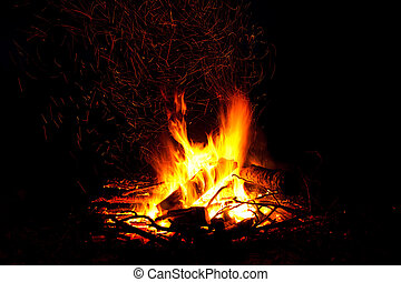 Campfire as a symbol of warmth and life on black