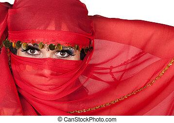 retrato, joven, mujer, Llevando, tradicional, rojo, velo