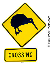 NZ Attention Kiwi Crossing Road Sign on White - New Zealand...
