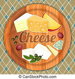 Cheese Plate. Various Types of Cheese on a Wooden...