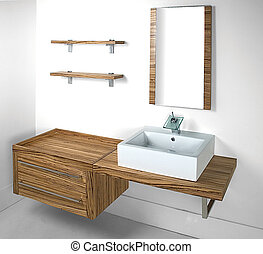 bathroom set - typical modern bathroom standard size set...