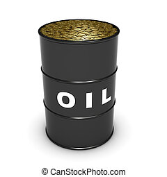Oli barrel with coins - oil barrel filled with dollar coins,...