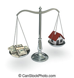 Scales with dollars and house - Classic scales of justice...