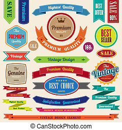 Set of retro vintage badges and labels - Set of retro...