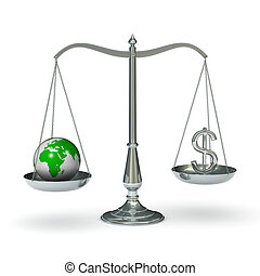 Scales with dollar symbol and earth