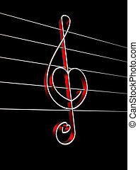 love song - Treble clef with heart shape on black background