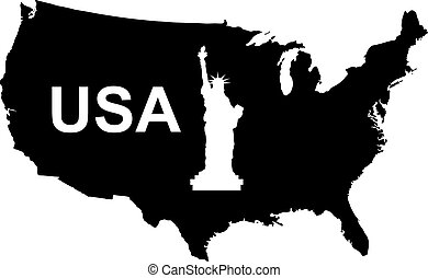USA Map Black Vector Silhouette Illustration