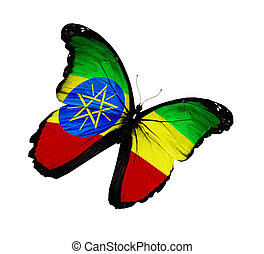 Ethiopia flag butterfly flying, isolated on white background