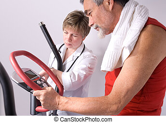after training - doctor checks the medical result of...