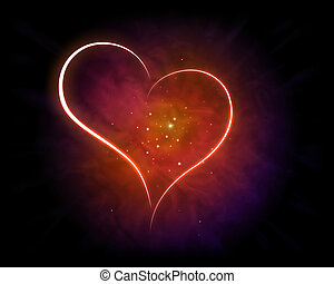 Love - Galaxy of Love with shining Heart Shape.