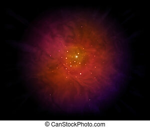 Nebula - Galaxy of Love with shining Heart Shape.