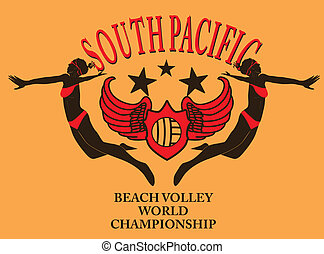 south pacific ocean beach volley vector art
