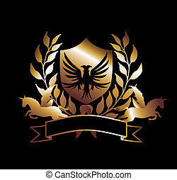 eagle and horse gold shield vector art