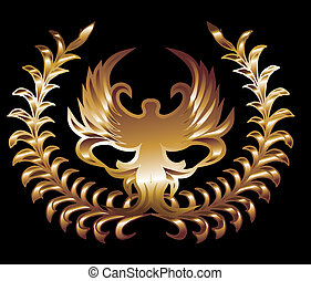 black background gold lion and wreath vector art
