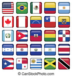 American Flags squared Icons, Zip includes 300 dpi JPG,...