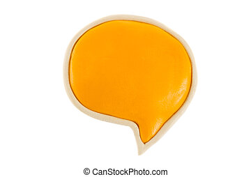Yellow text bubble of plasticine on a white background -...