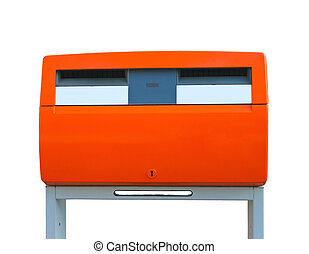Dutch public mailbox orange  isolated on white. Netherlands