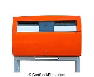 Dutch public mailbox orange  isolated on white. Netherlands