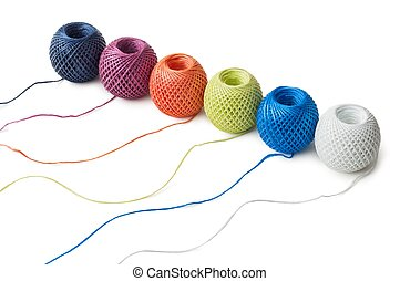 Ball of string - Six ball of twine on a white background