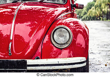 Red retro car on the street - Red retro car on the rainy...