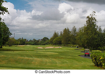 Car on golf courses, and the sky in the clouds - Red car on...