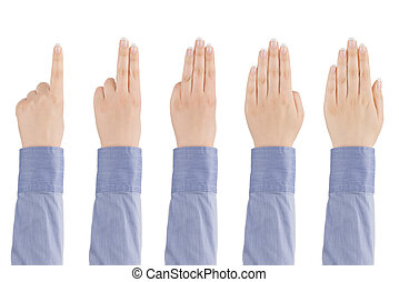 Woman's hand counts from one to five.