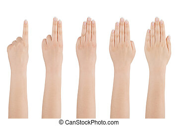 Womans hand counts from one to five - Womans beautiful naked...