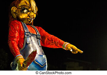 Chucky doll figure at the festival Ogoh-Ogoh, Bali,...