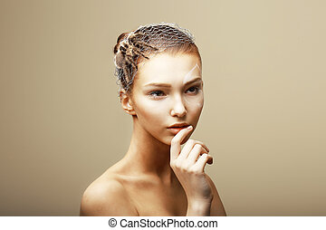 Fantasy Creative Concept Tarantula Spider on Womans Head...