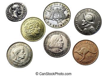 sete, moedas, diferente, vezes, países