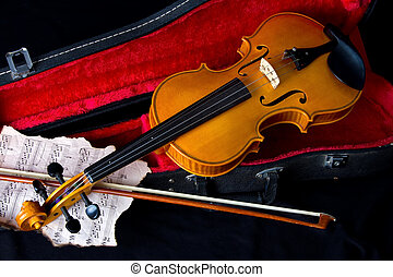 Violin in carry case - Violin in carry red case with sheet...