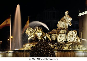 Cibeles Fountain in Madrid, Spain - Night view of Cibeles...