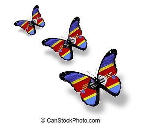 Three Swaziland flag butterflies, isolated on white