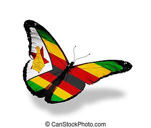 Zimbabwe flag butterfly flying, isolated on white background