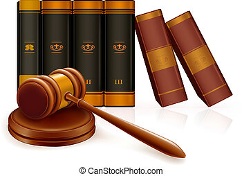 Gavel and books, vector