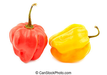 Scotch bonnet peppers chili on a white background close-up