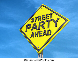 Street Party Yield Sign - A yield road sign with Street...