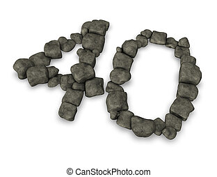 number forty made from pebbles - 3d illustration