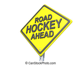 Road Hockey Ahead Yield Sign White Background - A yield road...